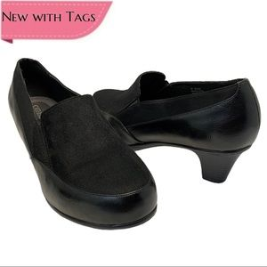 Catherines Black Slip On Loafer Heels- Size 12 W